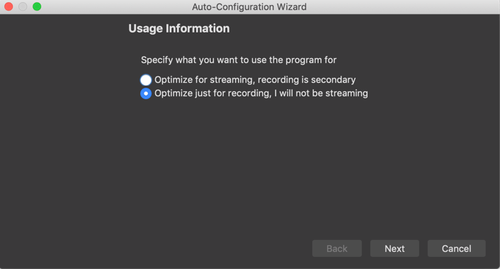 Configure for recording
